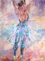 Ballet Practice - Painting of dancer in studio