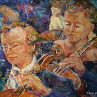 """Cellists In Orchestra Playing Classical Music"" by ballet-ballroom-dancing"