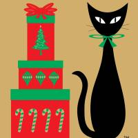 Holiday Cat II Art Prints & Posters by Donna Mibus
