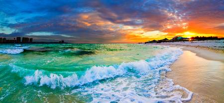 beautiful ocean beach seascape panoramic sunset