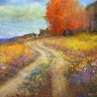 """road by the lake with flowers and fall colors"" by rchristophervest"