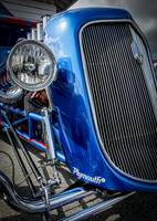 Blue 30s Plymouth Coupe Grill Detail