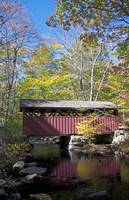 Red covered bridge portrait