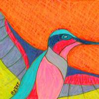 Humming-bird-drawing-contemporary-BZTAT Art Prints & Posters by BZ TAT