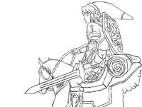 Link and Epona line art