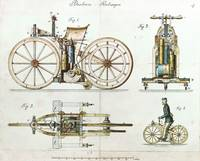 Daimler Reitwagen color drawing 1885 D patent 3642