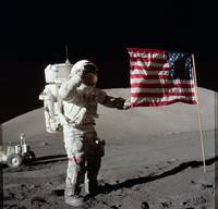 Apollo 17 Mission with American Flag  by NASA