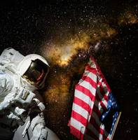 American flag and Milky Way Galaxy in the backgrou