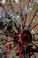 rusted old iron wheel spokes