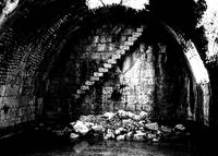 ancient underground water cistern b&w
