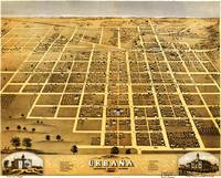 Birdseye view of Urbana, Illinois (1869)