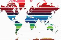 worldmap pink to maroon stripes