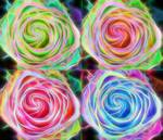"Four Colorful Electrify Roses by James ""BO"" Insogna"