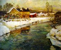 Fritz Thaulow - Cottage by a canal in the snow
