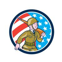 World War Two Soldier American Marching Cartoon Ci