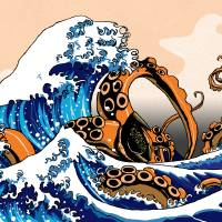 """The Great Wave off Kanagawa with a Kraken"" by JackMudge"