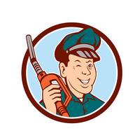 Gas Attendant Nozzle Winking Circle Cartoon