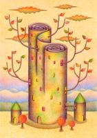 Tower of yellow leaves