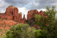 Red Rocks of Sedona with Spring Trees by Carol Groenen