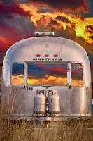 Airstream Travel Trailer Camping Sunset Window Vie