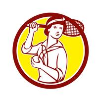 Female Tennis Player Racquet Vintage Circle Retro