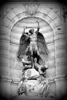 Triumphant Saint Michael - Black and White by Carol Groenen