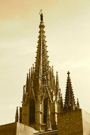 Barcelona Cathedral Spires in Sepia