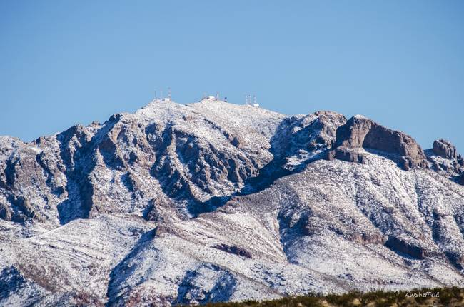 Franklin Mountain Peaks with Snow