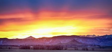 Boulder County Haystack Rocky Mountain Sunset Pano