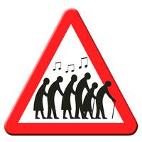 Road sign - Pensioners getting jiggy with it