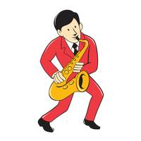 Musician Playing Saxophone Cartoon