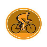 Cyclist Riding Bicycle Cycling Racing Circle Retro
