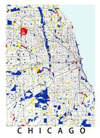Map of Chicagoland in the style of Piet Mondrian 2