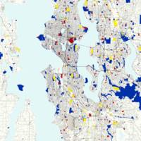 Seattle Piet Mondrian Style City Street Map Art