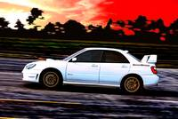 Subaru WRX STi Racing at Sunset