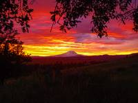 Goldendale sunset Mt Adams in background, WA