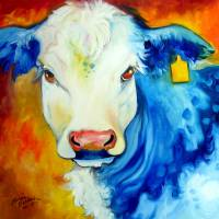 BLUE BULL YELLOW TAG by Marcia Baldwin