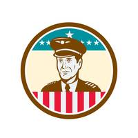 Airline Pilot Aviator USA Flag Circle Retro