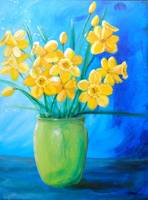 Daffodils in Green Vase