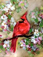 Cherry Blossom Percher Cardinal