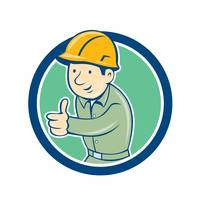 Builder Construction Worker Thumbs Up Circle Carto