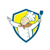 Chef Cook Arm Out Spatula Shield Cartoon