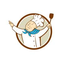 Chef Cook Arms Out Spatula Circle Cartoon