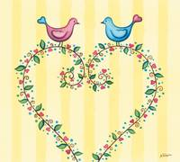 Love birds with heart wreath.