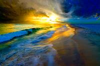 beautiful ocean sunset prints waves and beach