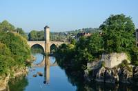 Famous medieval bridge in the old French town Orth
