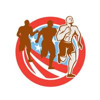 American Crossfit Runners USA Flag Circle Retro