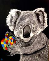 KOALA BEAR WITH A RUBIK'S CUBE