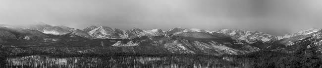Colorado Rocky Mountain Peaks Sunrise Panorama BW