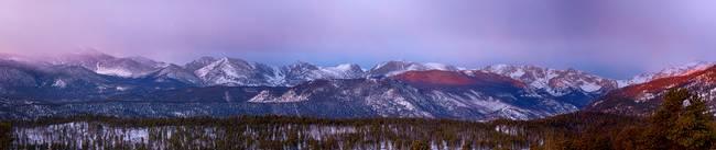 Colorado Rocky Mountain Peaks Sunrise Panorama
